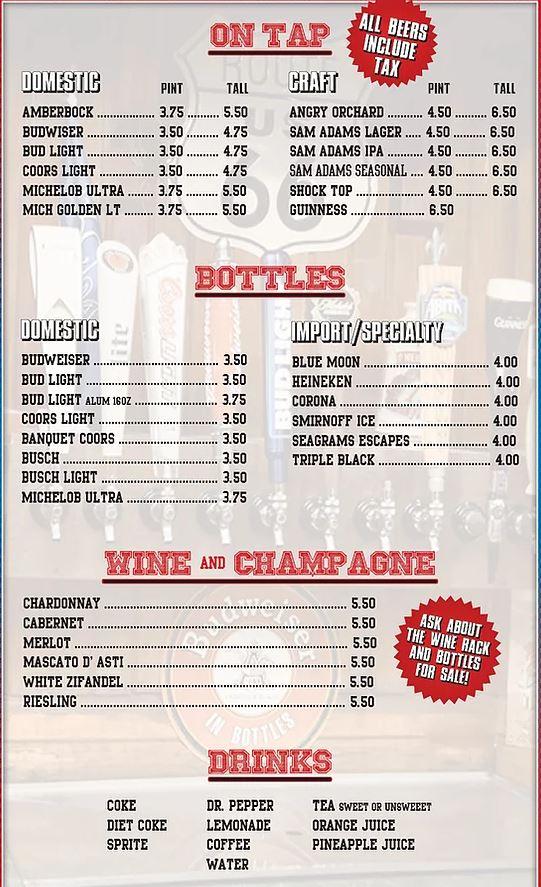 66 Sports Bar And Restaurant General Menu