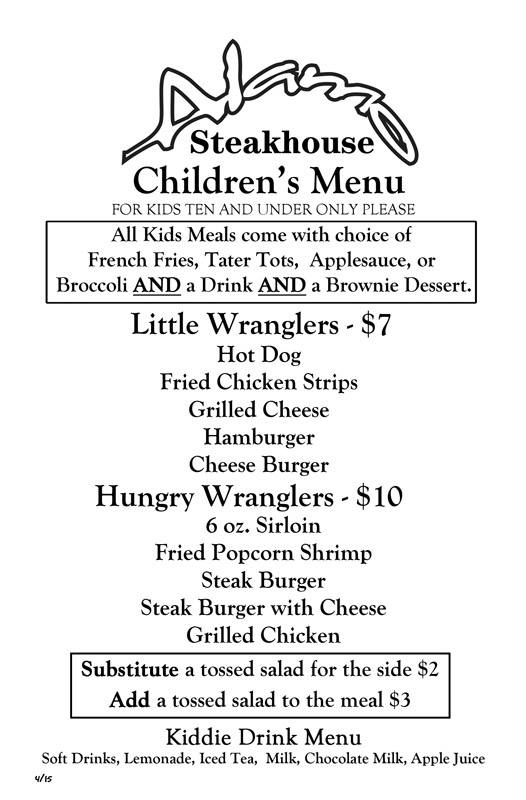 Alamo Steakhouse Gatlinburg Kids Menu