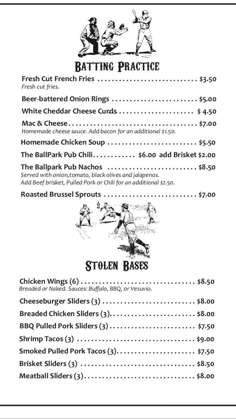 Ballpark Pub General Menu