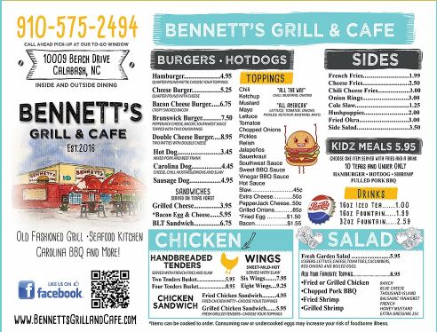 Bennetts Grill And Cafe General Menu
