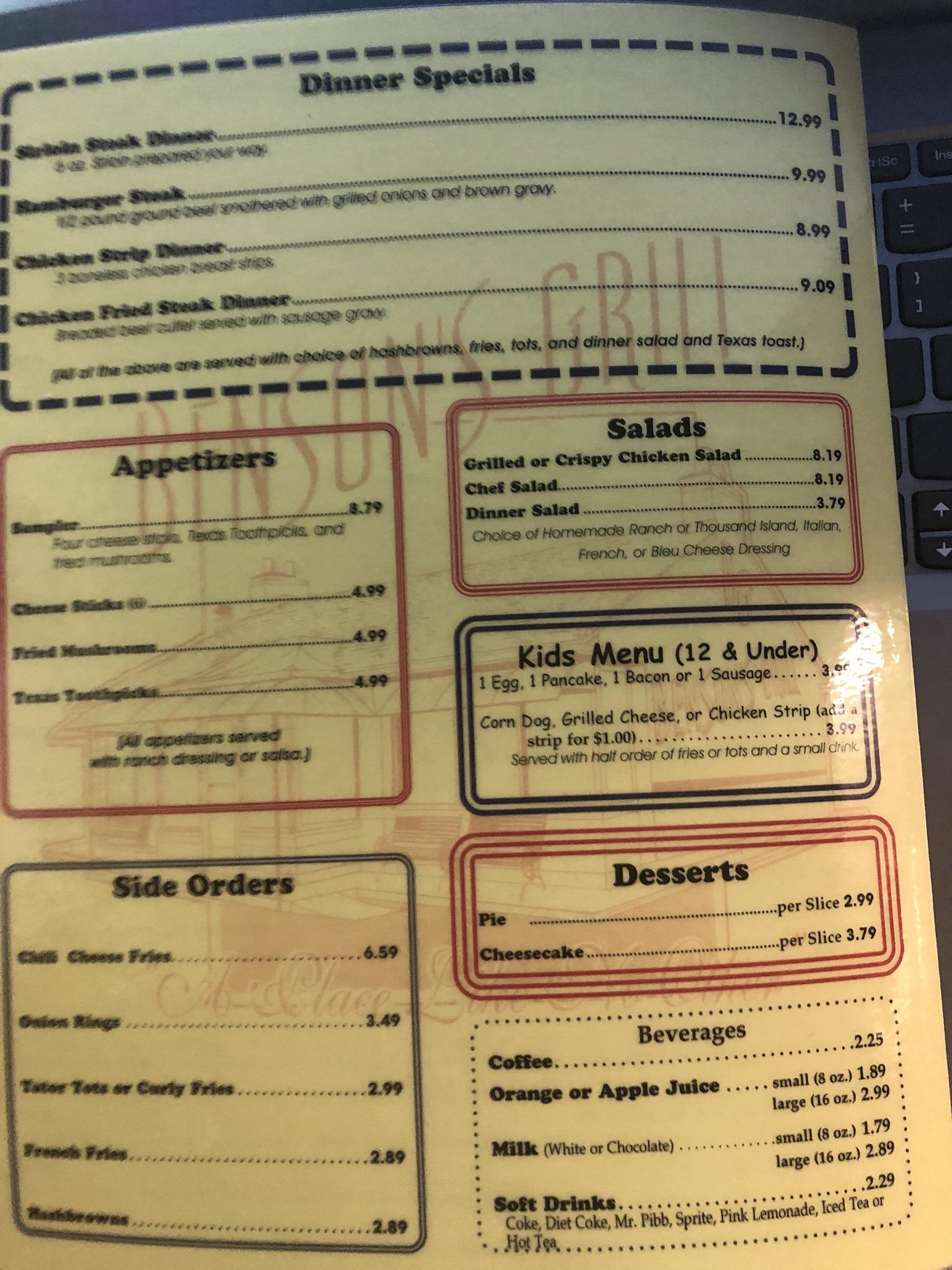 Bensons Grill General Menu