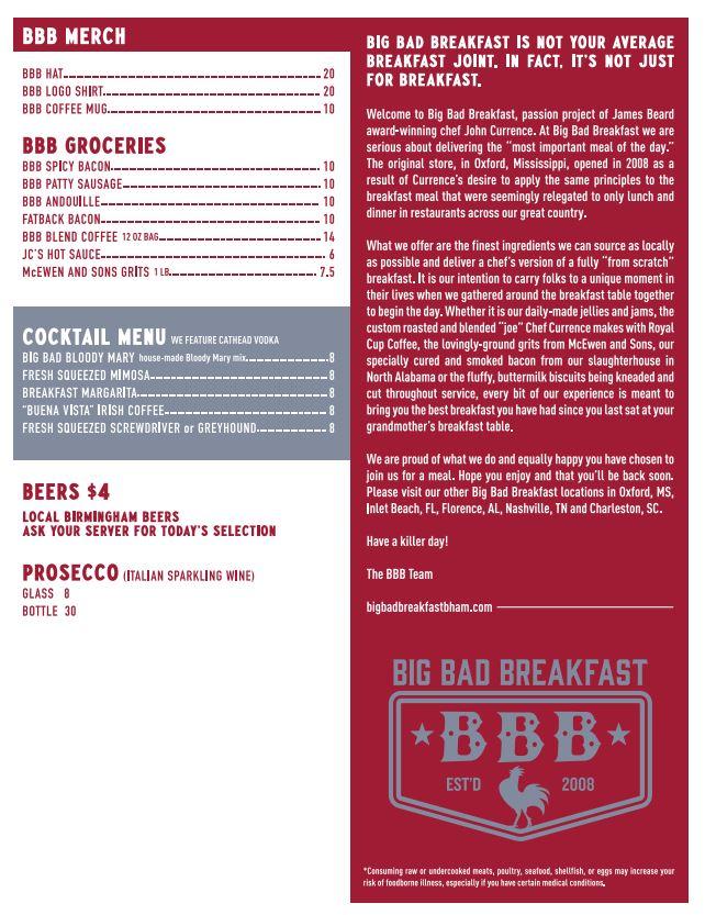 Big Bad Breakfast General Menu
