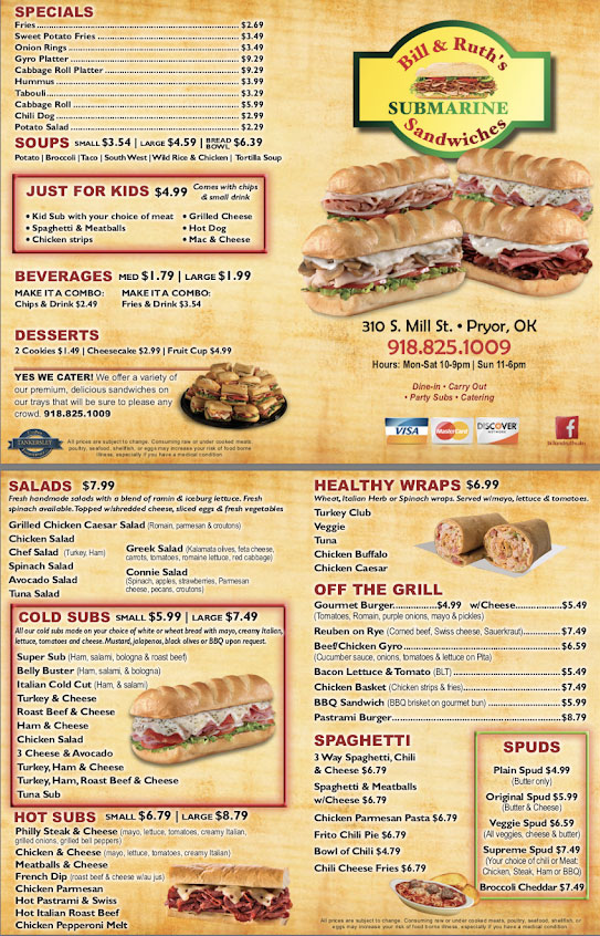 Bill And Ruths Subs And Burgers Pryor General Menu