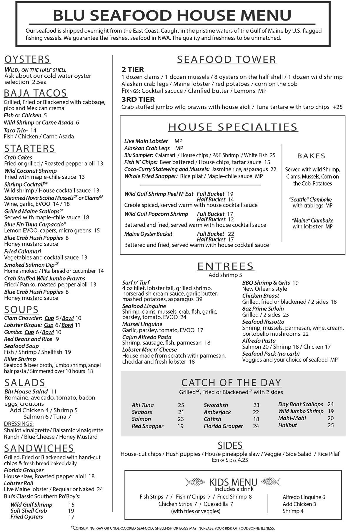 Blu Fish House And Raw Bar General Menu