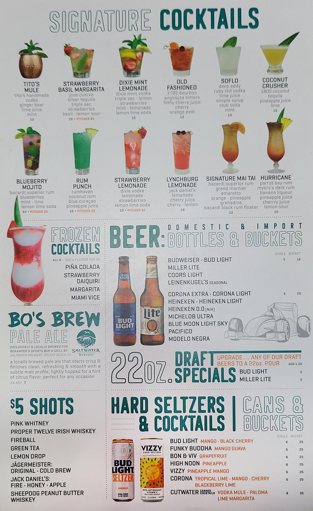 Bokampers Sports Bar And Grill Drink Menu