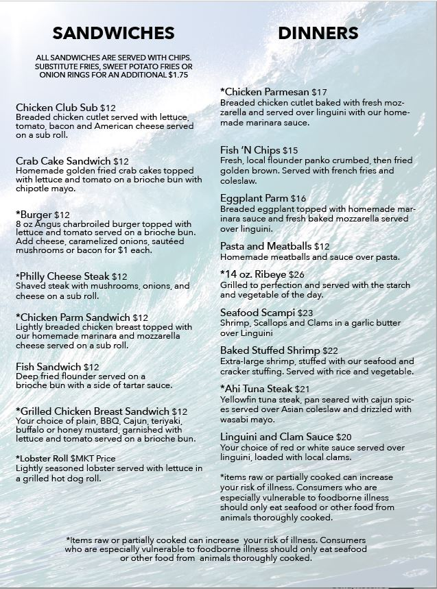 Bon Vue Narragansett General Menu