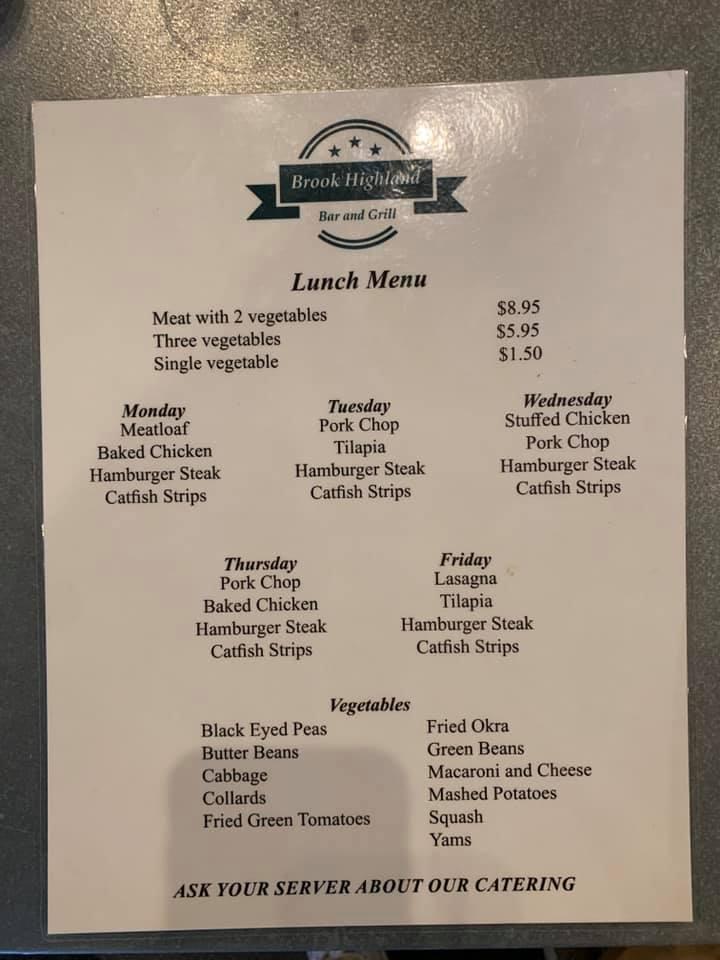 Brook Highland Bar And Grill General Menu