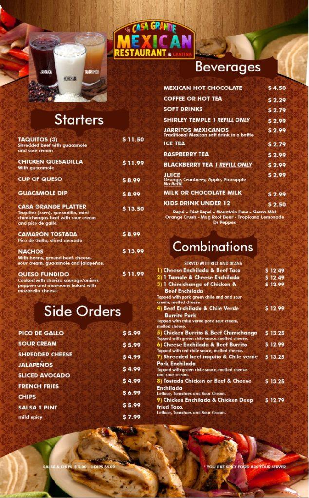 Casa Grande Mexican Restaurant General Menu