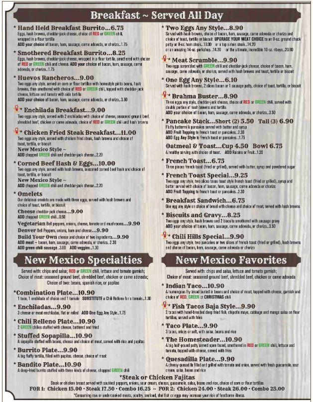 Chili Hills Restaurant Edgewood General Menu