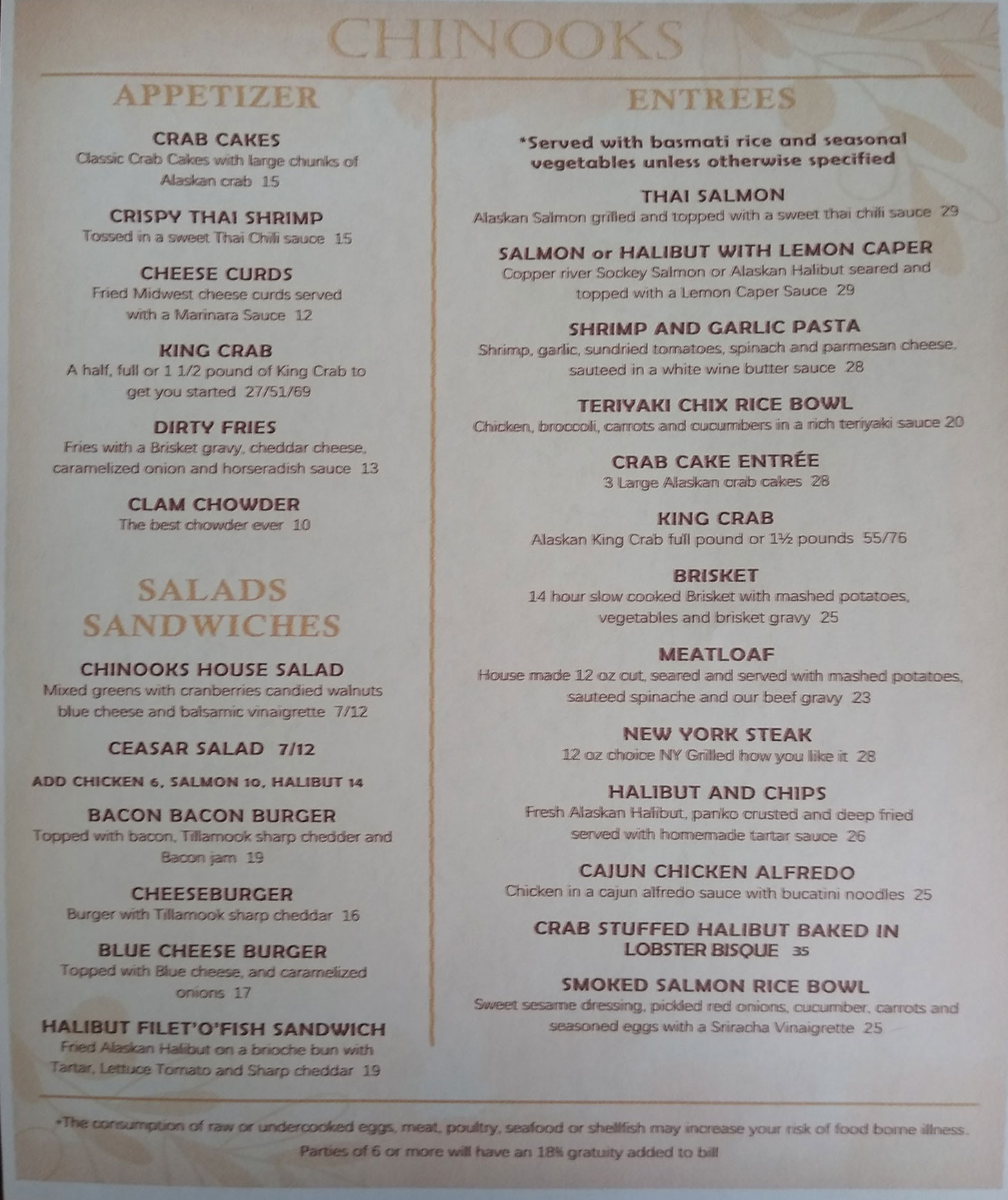 Chinooks Restaurant General Menu