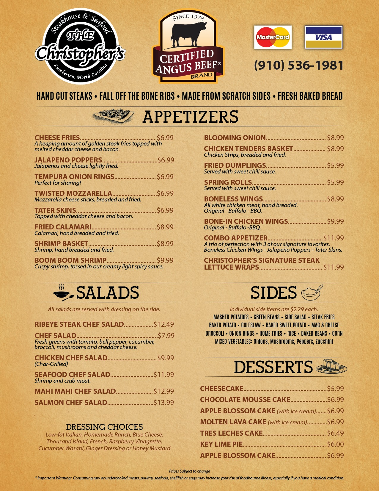 Christophers Steakhouse And Seafood General Menu