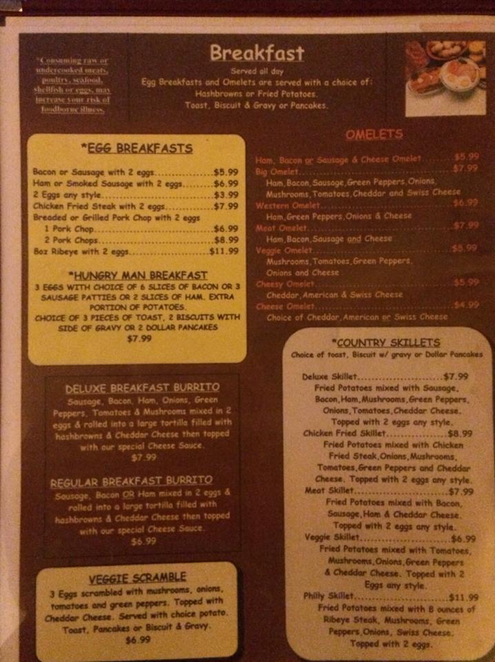 Country Kitchen Restaurant General Menu