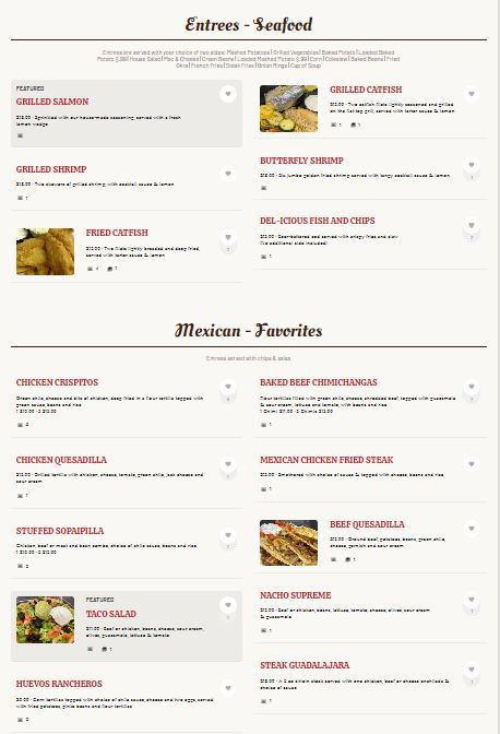 Dels Restaurant General Menu