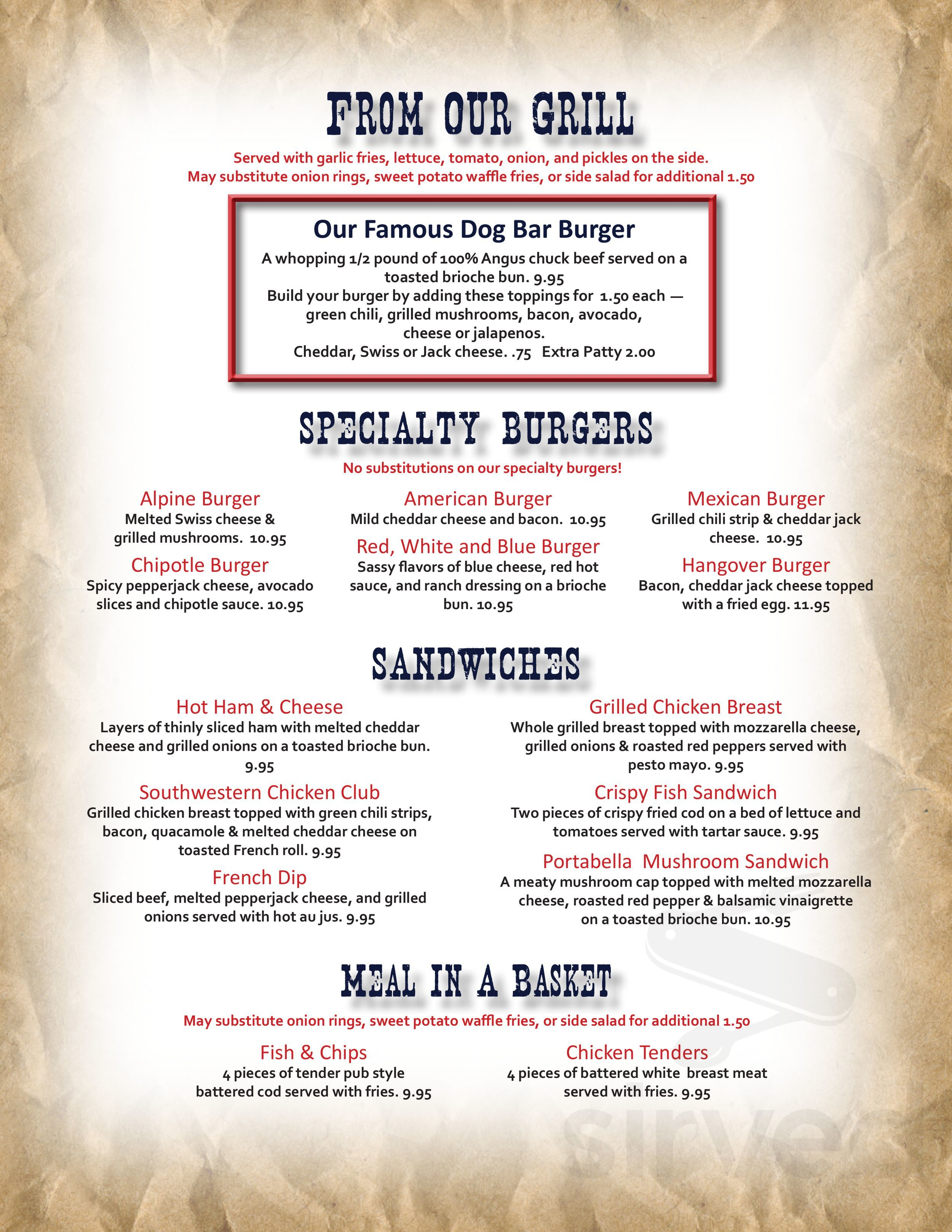 Dog Bar And Grill General Menu