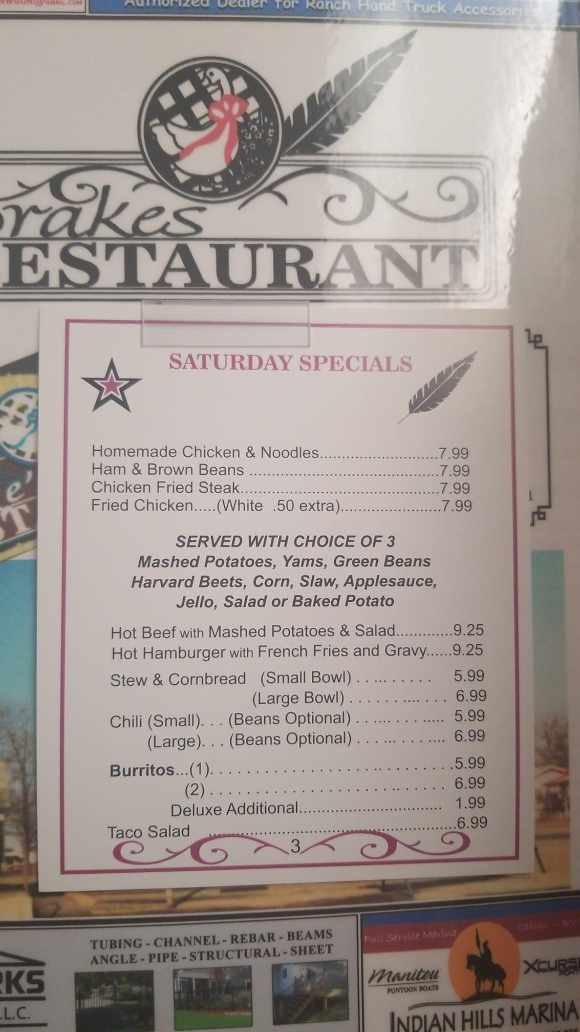 Drakes Restaurant General Menu