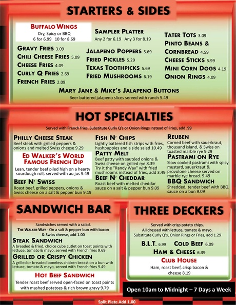 Ed Walkers Drive In And Restaurant General Menu