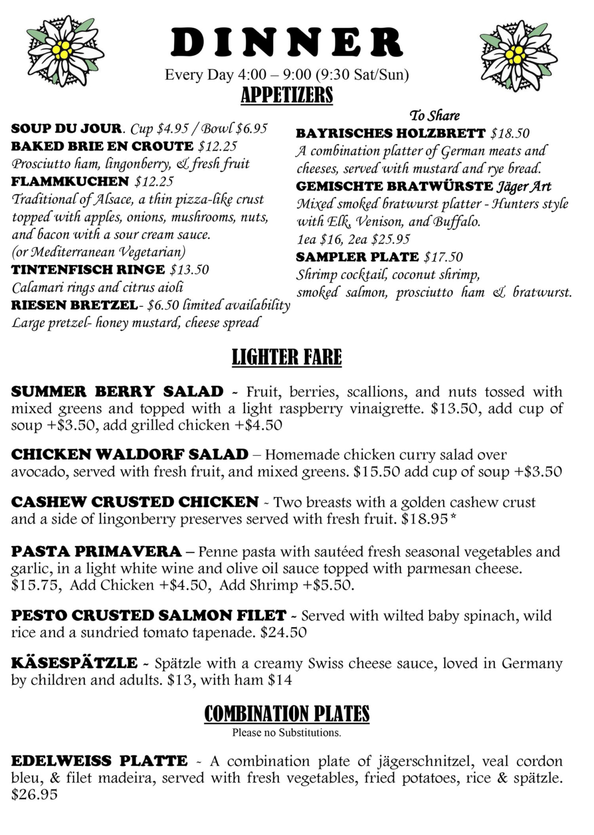 Edelweiss German Restaurant General Menu
