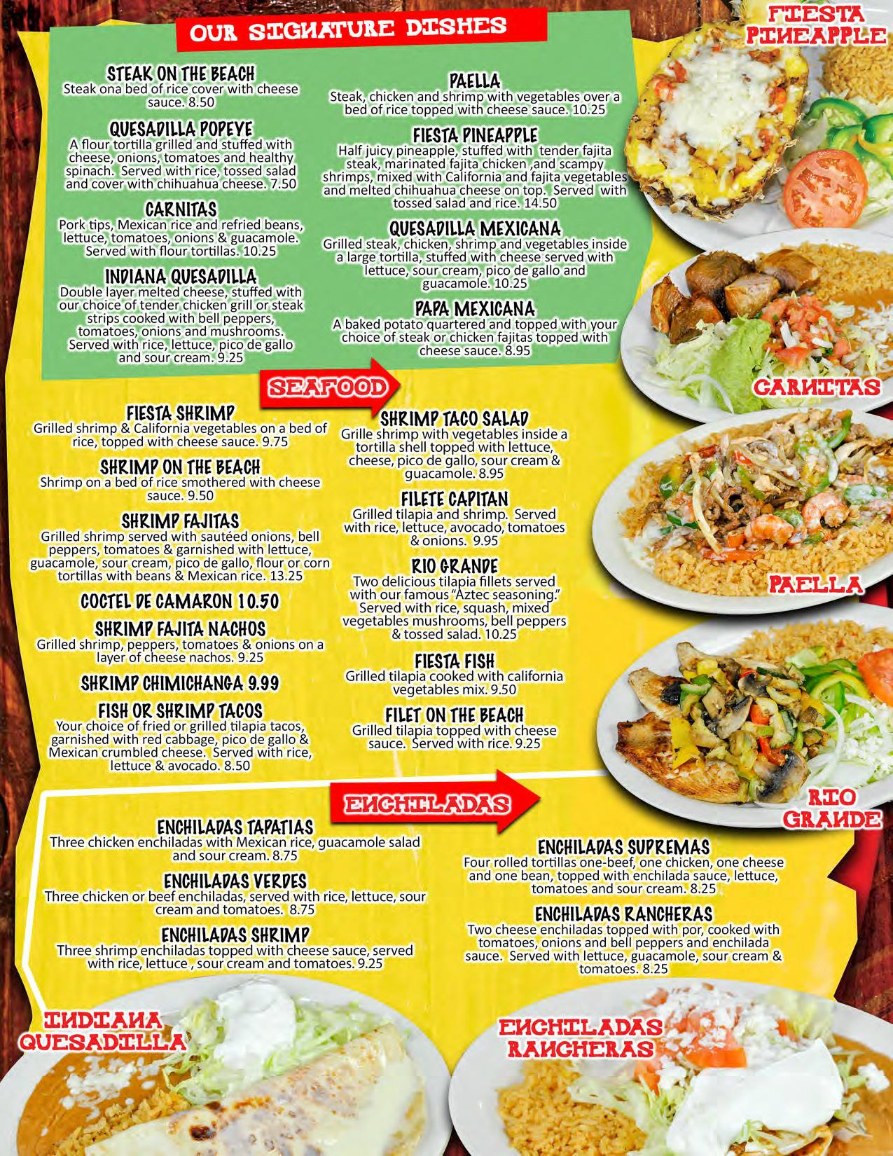 El Mexicano Mexican Grill General Menu