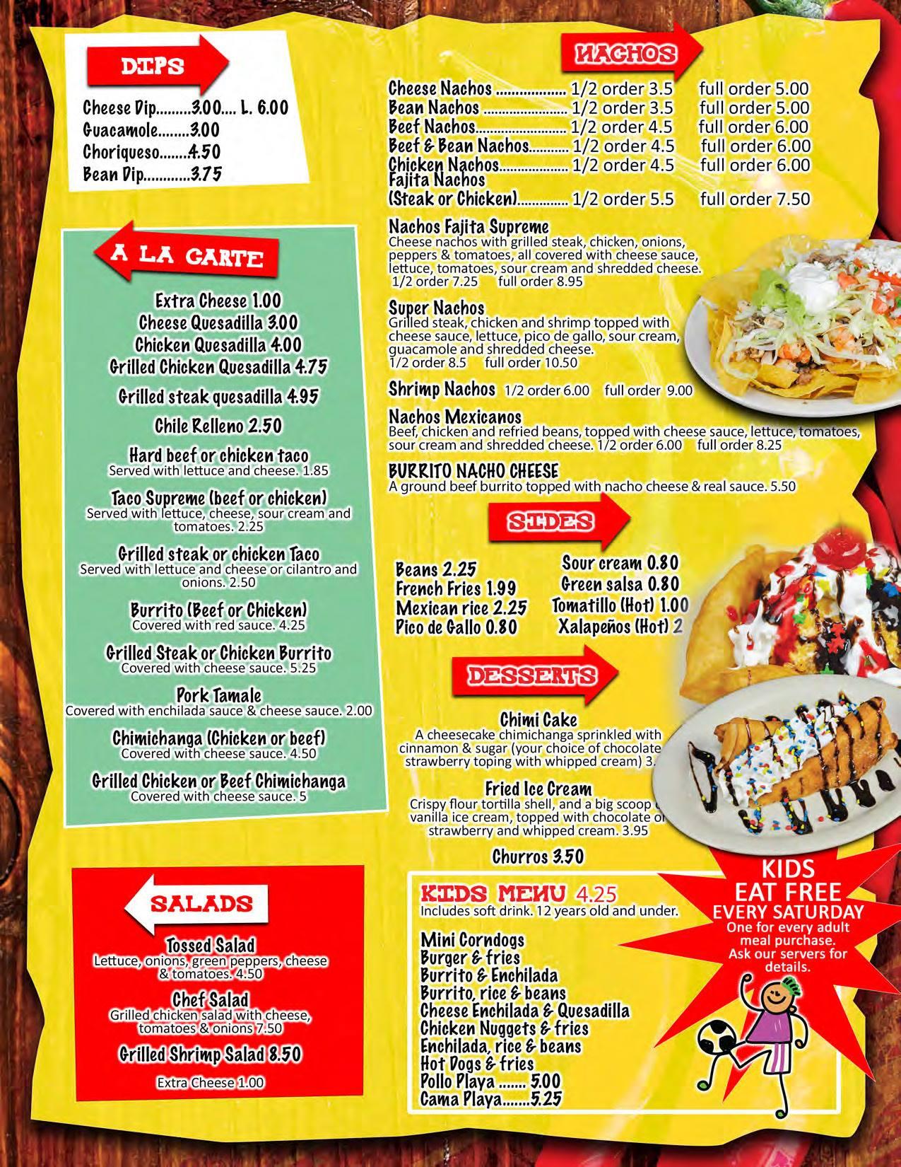 El Mexicano Mexican Grill General Menu