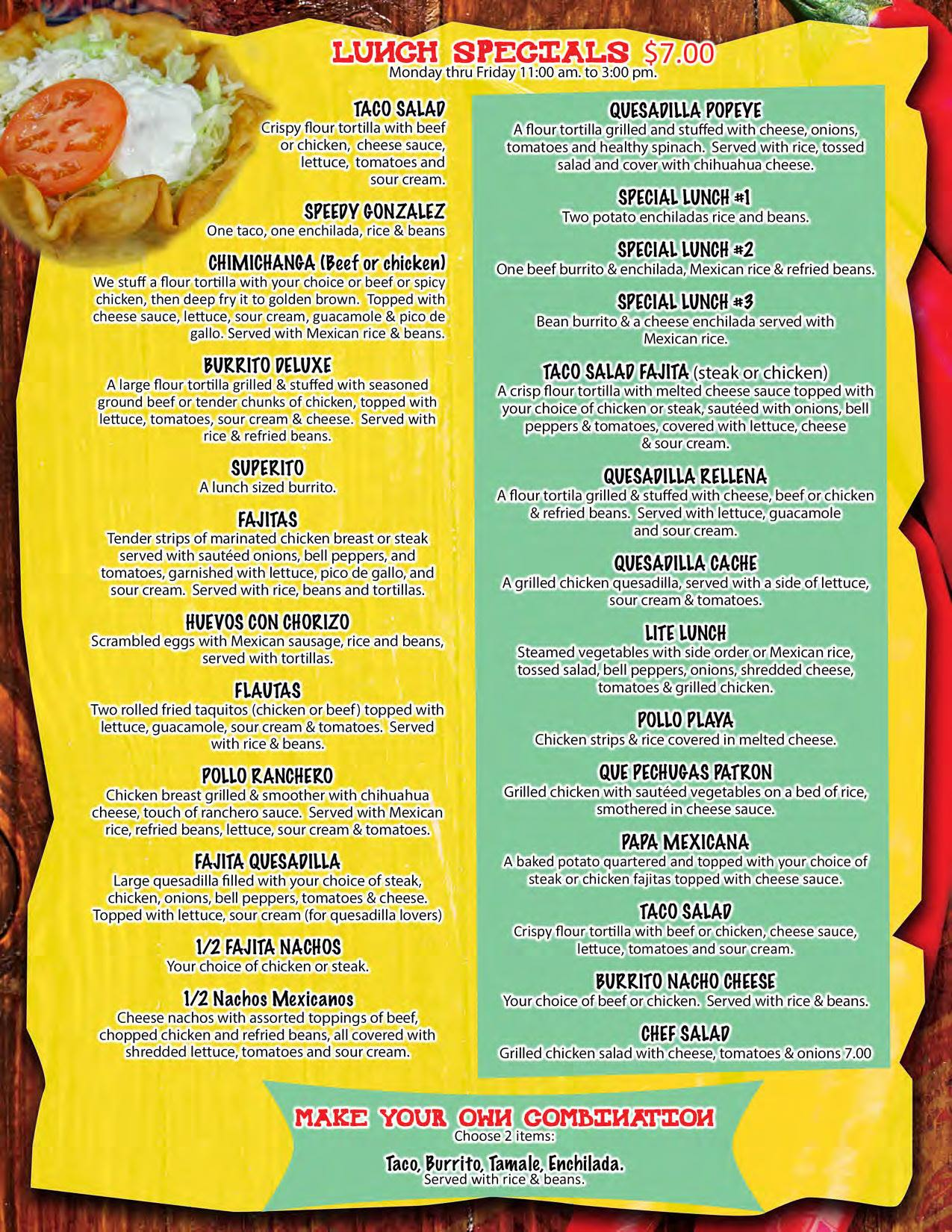 El Mexicano Mexican Grill Lunch Menu