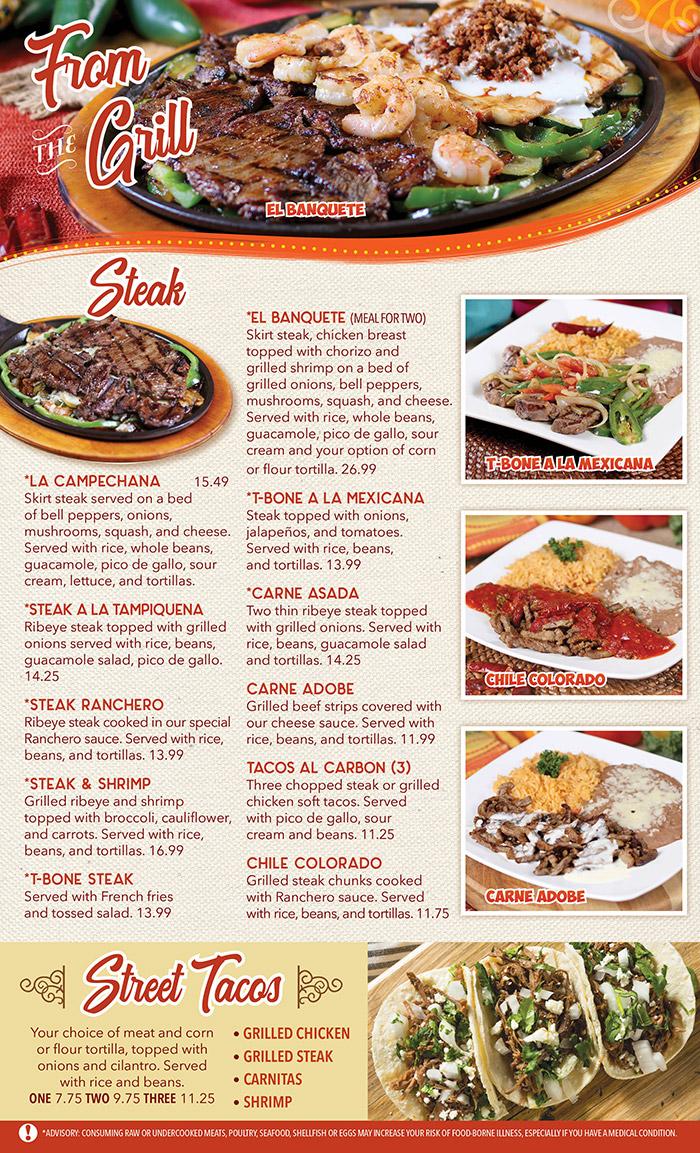 El Patio Mexican Restaurant General Menu