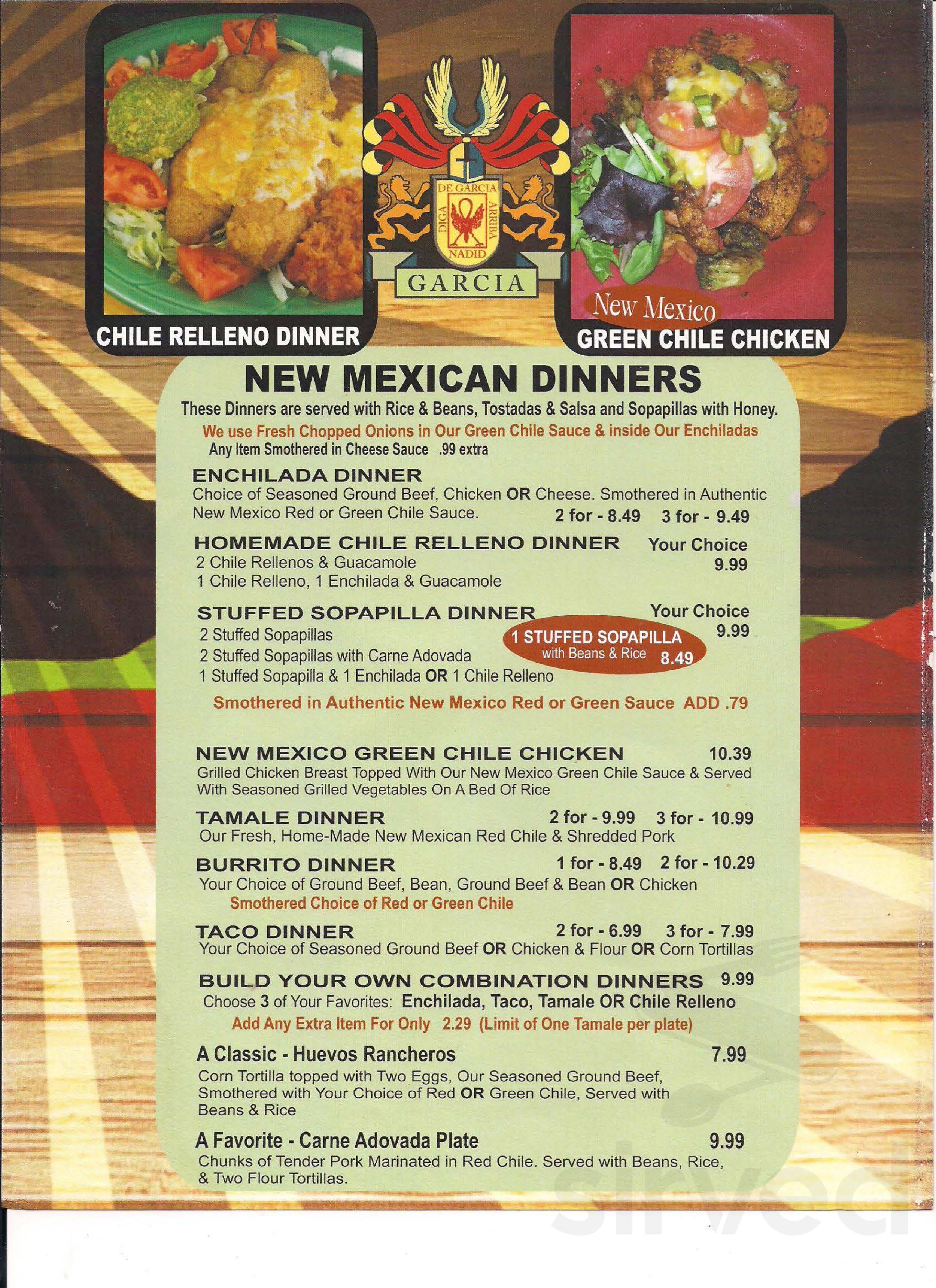El Rancho Restaurant General Menu