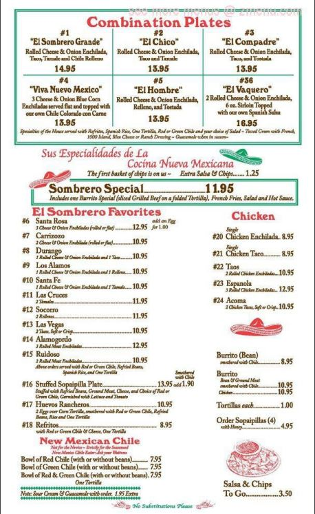 El Sombrero Restaurant General Menu