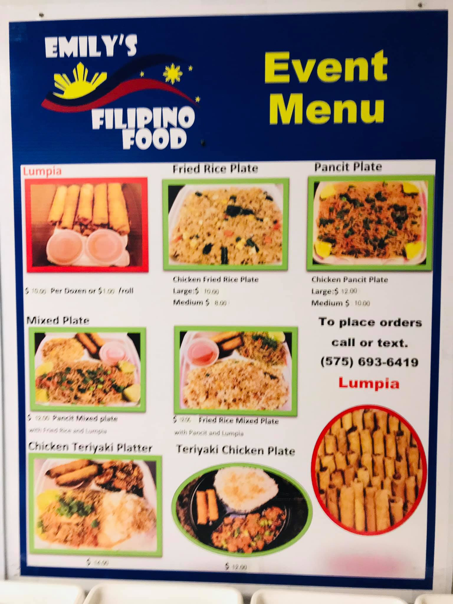 Emily's Filipino Food Truck General Menu