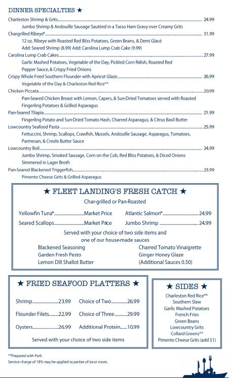 Fleet Landing Restaurant And Bar General Menu