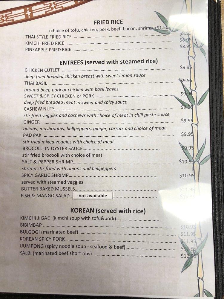 Fortune Korean And Thai Cuisine General Menu