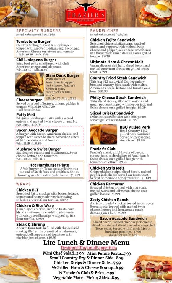 Fraziers Osage Restaurant General Menu