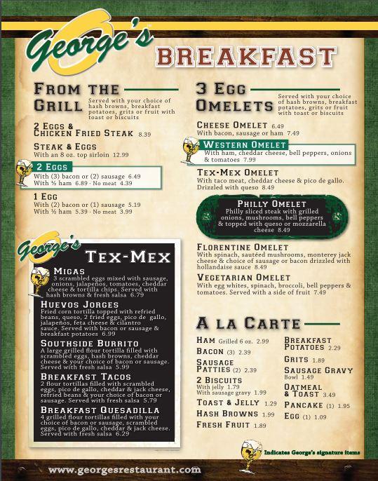 George's Restaurant Bar And Catering General Menu