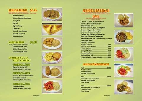 Happy Family Restaurant General Menu