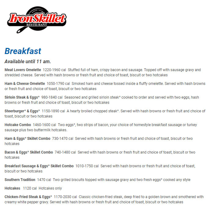 Iron Skillet Restaurant Breakfest Menu