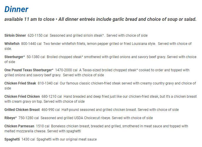 Iron Skillet Restaurant Dinner Menu