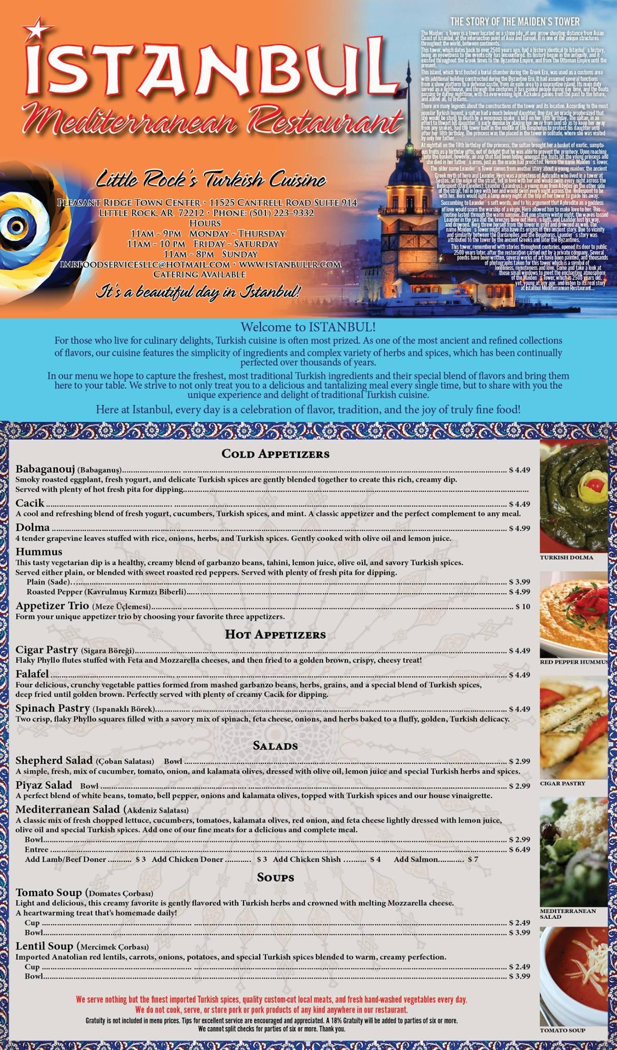 Istanbul Mediterranean Restaurant General Menu