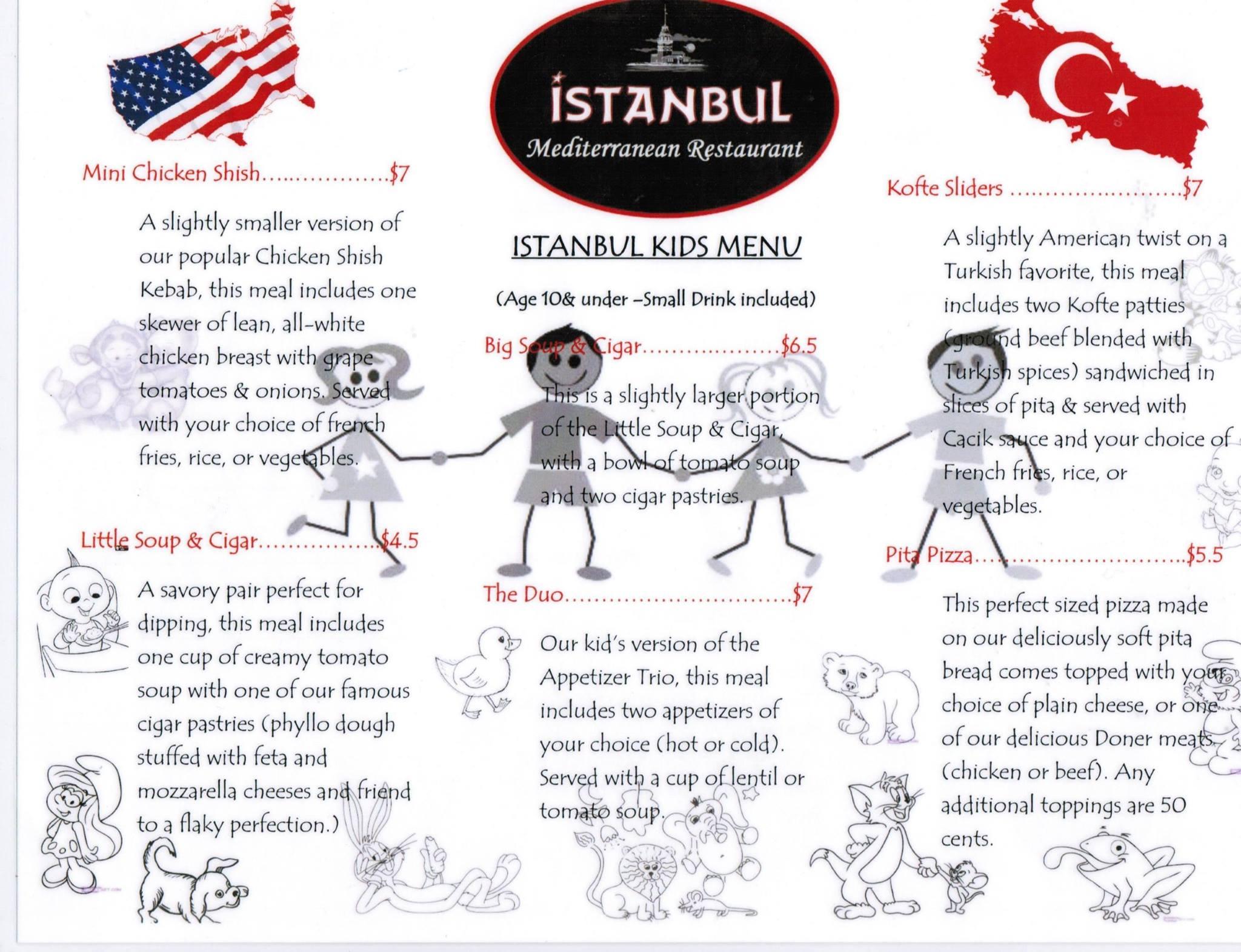 Istanbul Mediterranean Restaurant Kids Menu