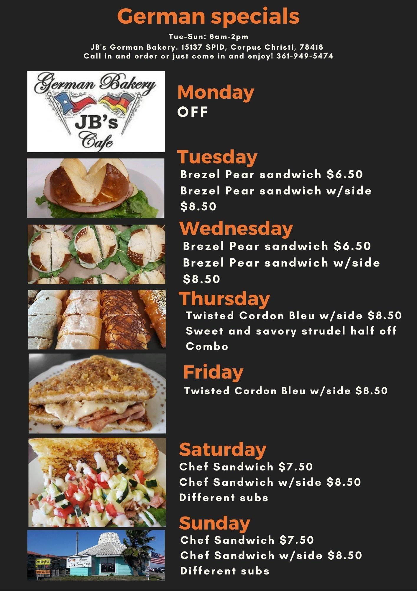Jbs German Bakery And Cafe General Menu