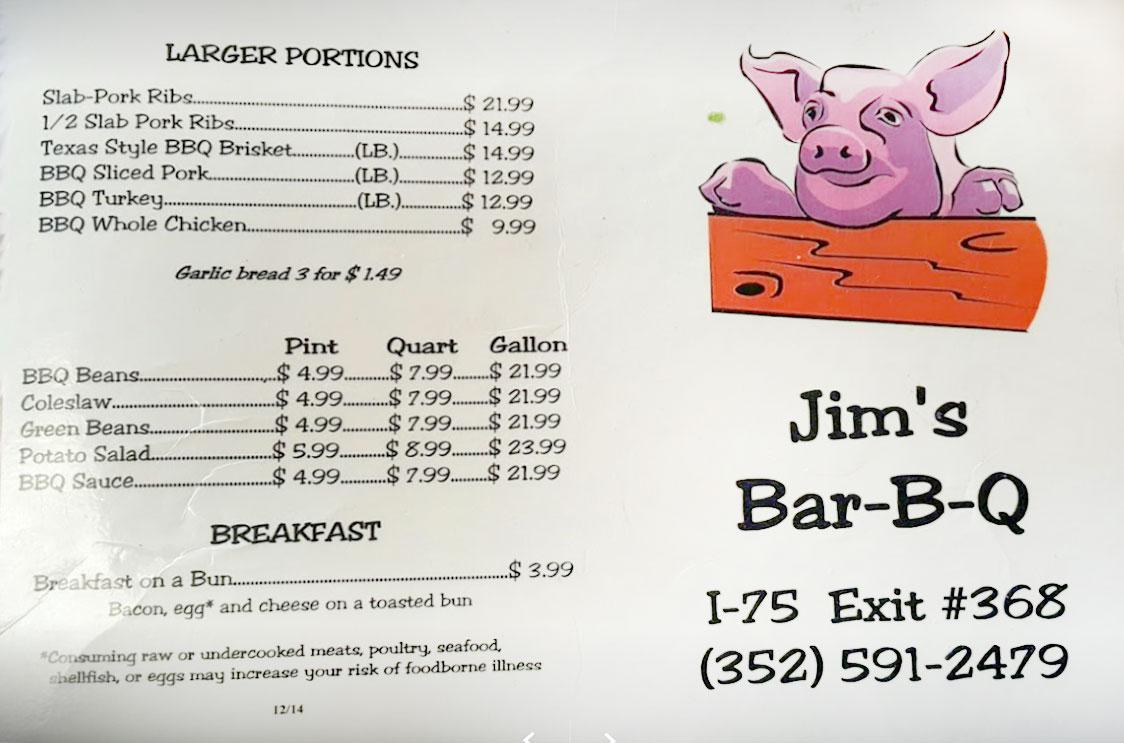 Jims Bar B Que General Menu