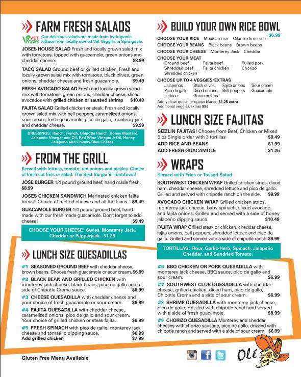 Joses Bar And Grill General Menu