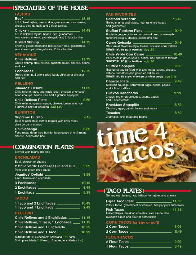 Juanitos Mexican Restaurant General Menu