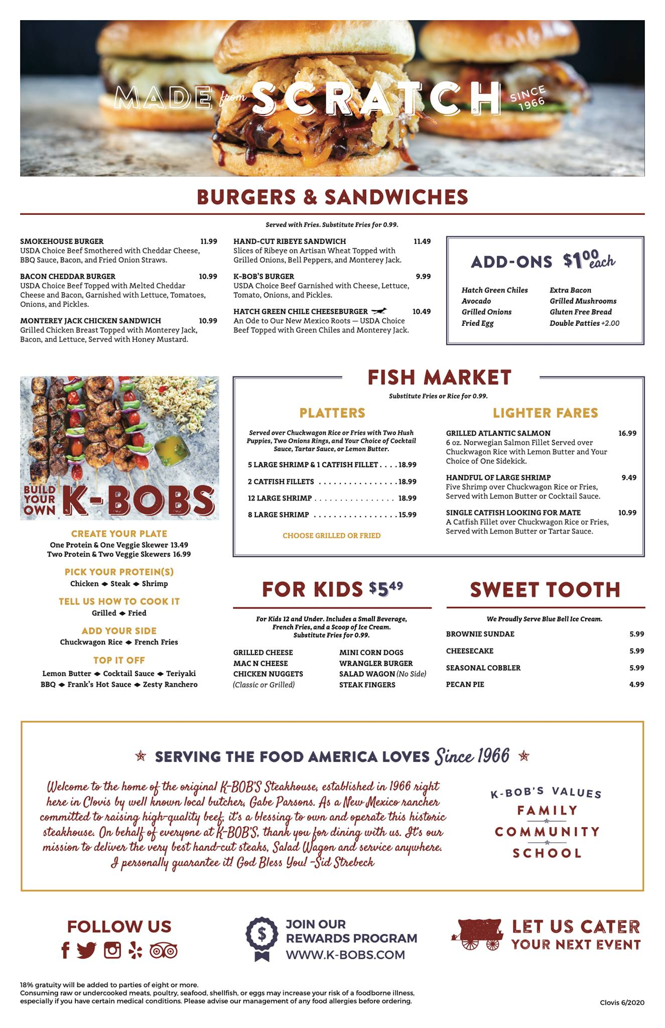 K Bobs Steakhouse General Menu