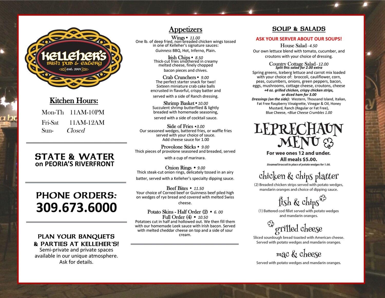 Kellehers Irish Pub And Eatery General Menu