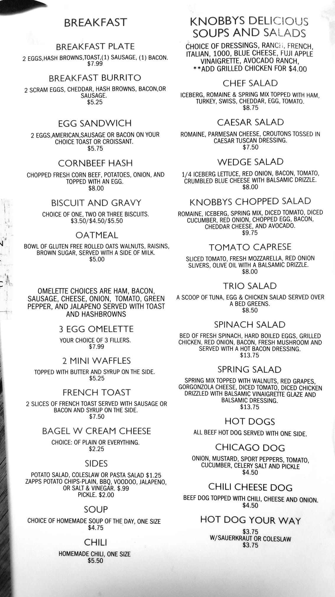 Knobbys Deli General Menu