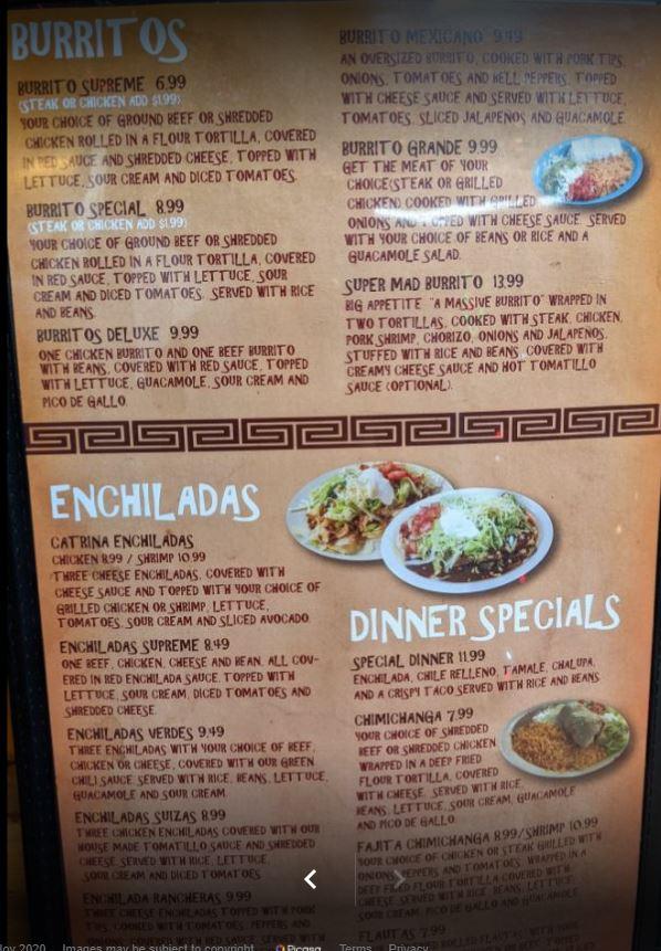 La Catrina Mexican Restaurant General Menu