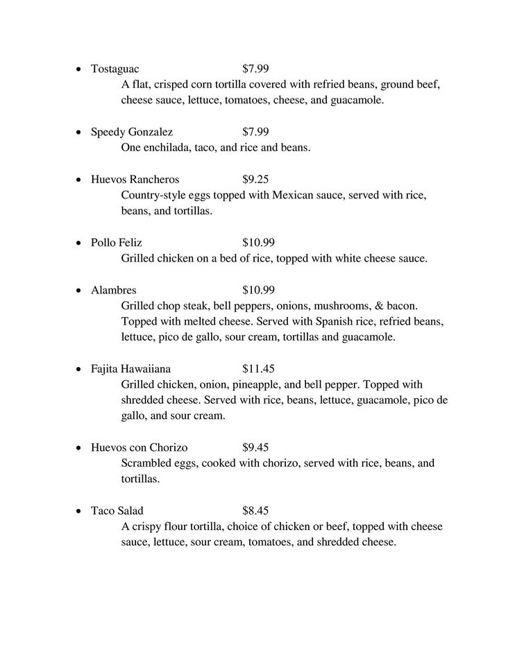 Las Trojas Cantina General Menu