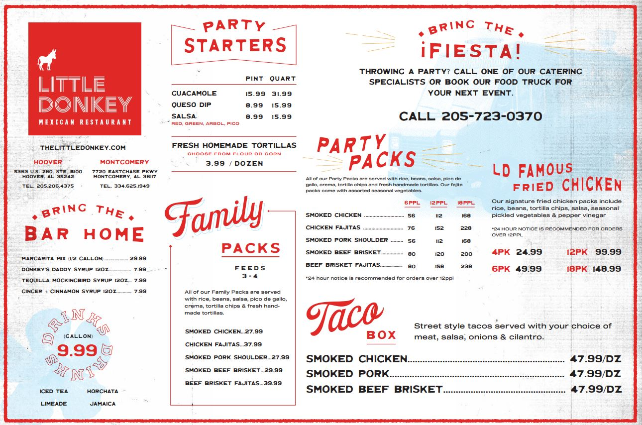 Little Donkey Mexican Restaurant General Menu