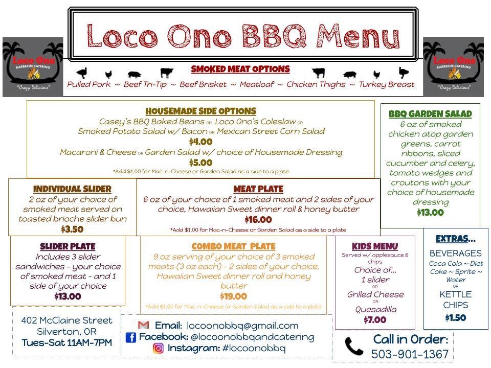 Loco Ono   Bbq And Catering General Menu