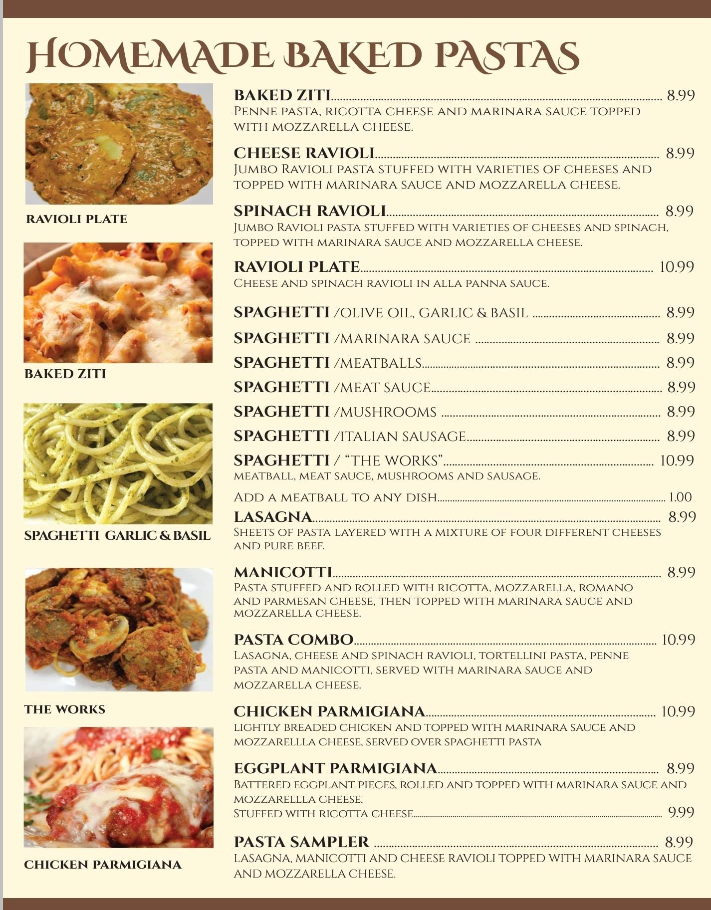Luigis Italian Restaurant And Lounge General Menu