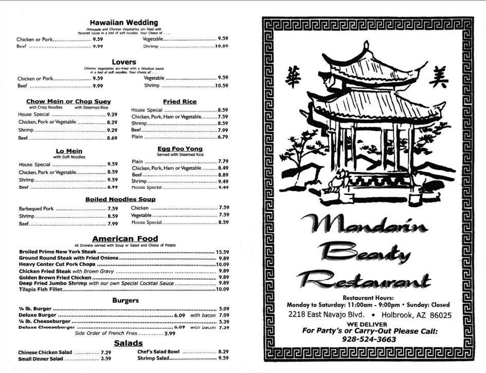 Madarin Beauty Restaurant General Menu